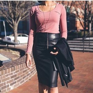 Forever 21 Black Faux Leather Skirt with slit